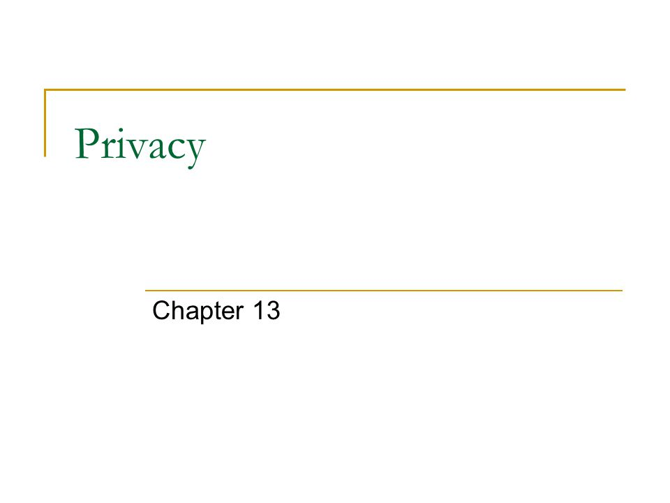 Privacy Chapter 13