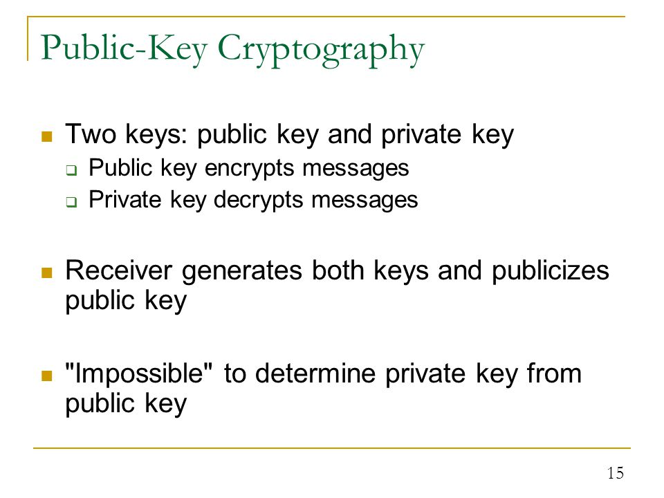 15 Public-Key Cryptography Two keys: public key and private key  Public key encrypts messages  Private key decrypts messages Receiver generates both keys and publicizes public key Impossible to determine private key from public key