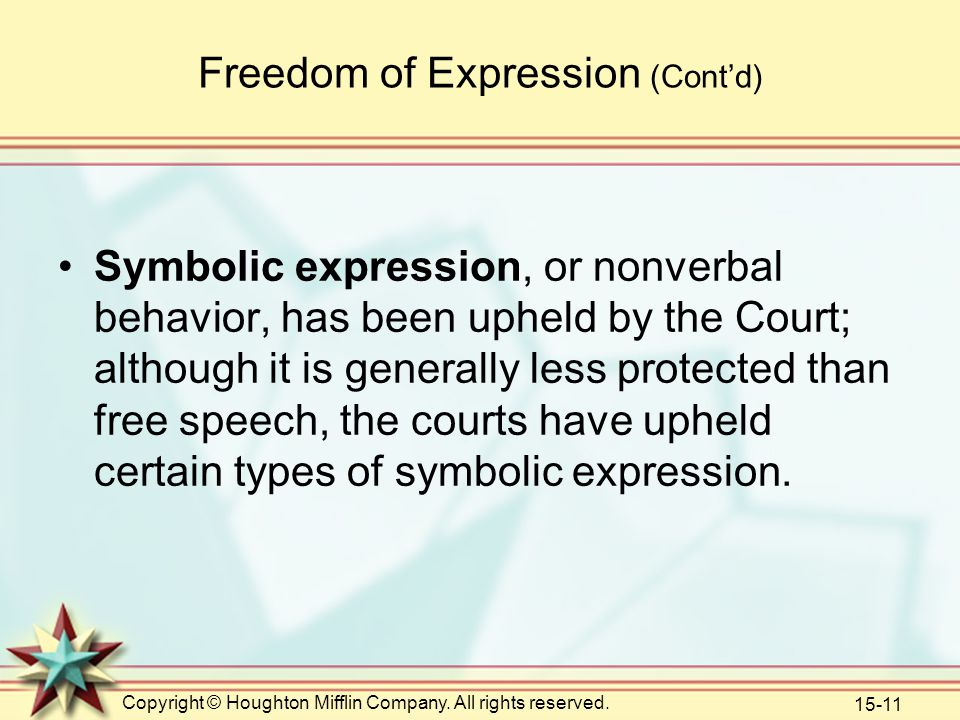Copyright © Houghton Mifflin Company. All rights reserved. 15-11 Freedom of Expression (Cont'd) Symbolic expression, or nonverbal behavior, has been u