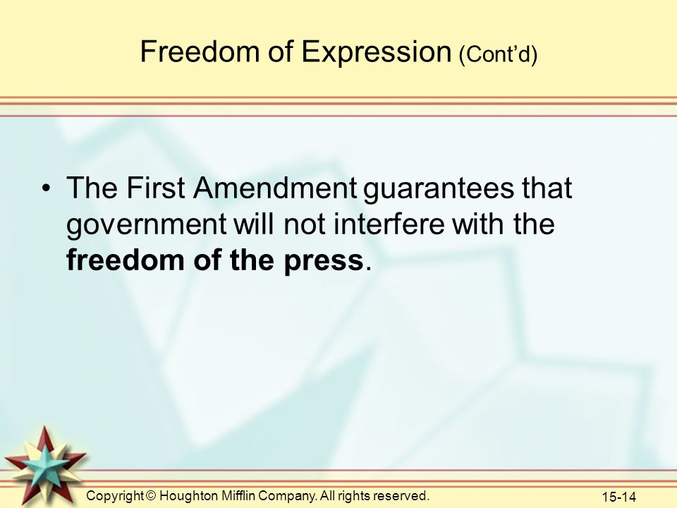 Copyright © Houghton Mifflin Company. All rights reserved. 15-14 Freedom of Expression (Cont'd) The First Amendment guarantees that government will no