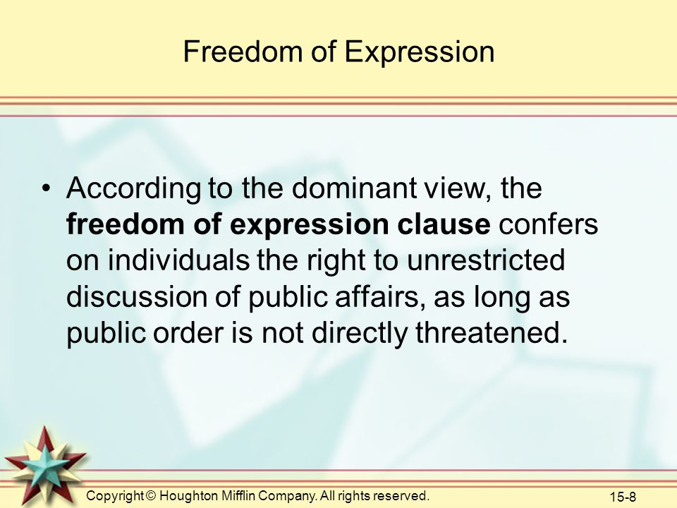 Copyright © Houghton Mifflin Company. All rights reserved. 15-8 Freedom of Expression According to the dominant view, the freedom of expression clause