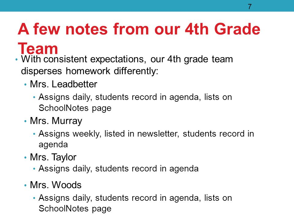 A few notes from our 4th Grade Team With consistent expectations, our 4th grade team disperses homework differently: Mrs.