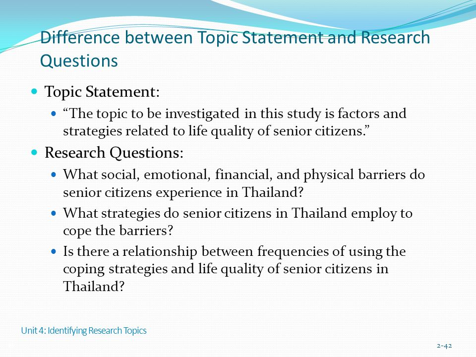 """Difference between Topic Statement and Research Questions Topic Statement: """"The topic to be investigated in this study is factors and strategies relat"""