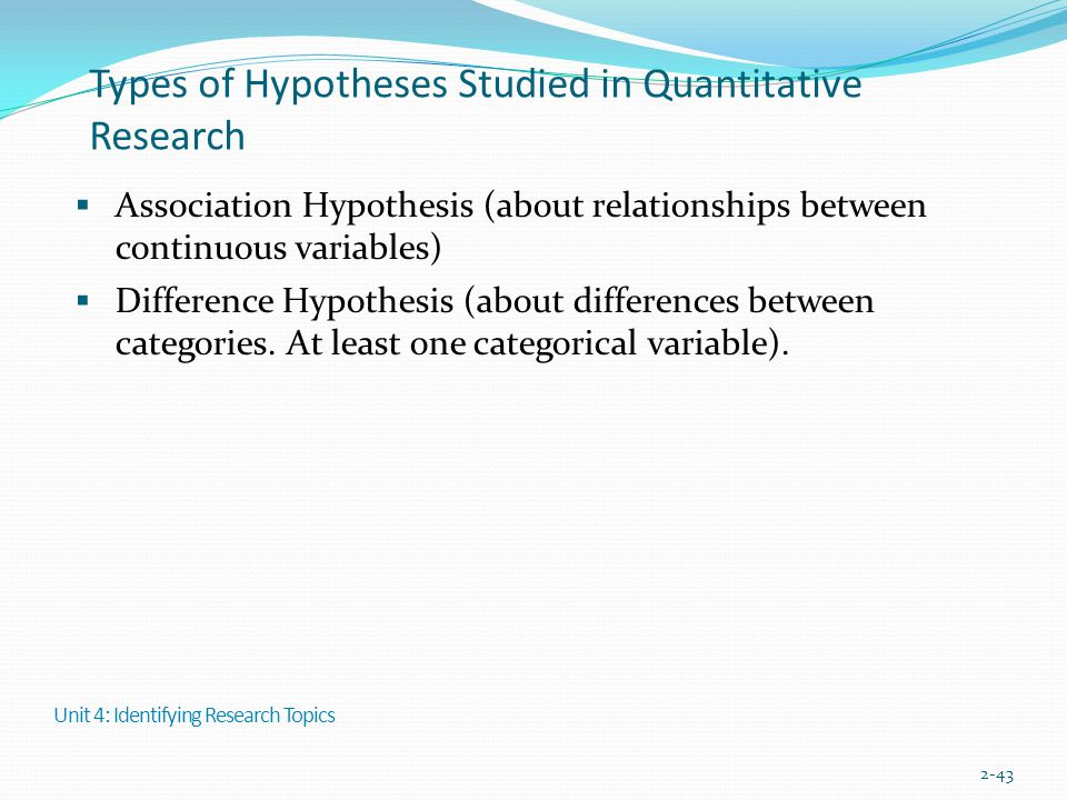 Types of Hypotheses Studied in Quantitative Research  Association Hypothesis (about relationships between continuous variables)  Difference Hypothes