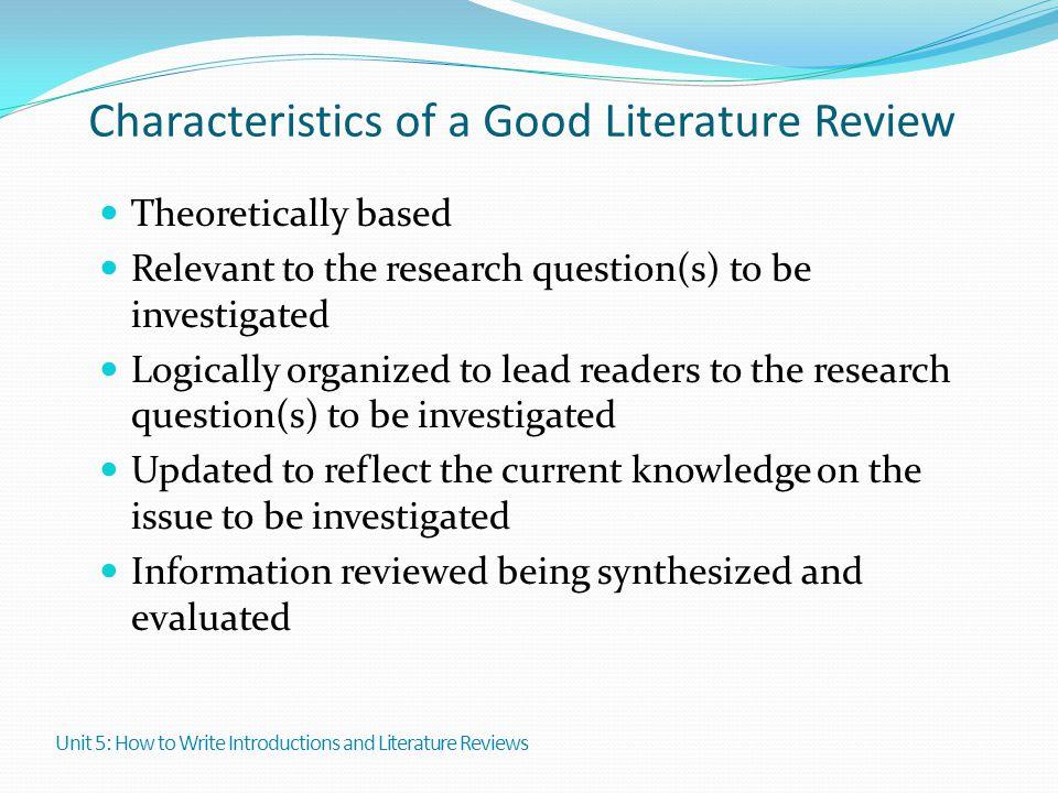 characteristics literature review