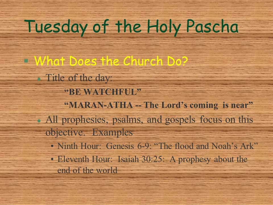 """Tuesday of the Holy Pascha §What Does the Church Do? l Title of the day: """"BE WATCHFUL"""" """"MARAN-ATHA -- The Lord's coming is near"""" l All prophesies, psa"""
