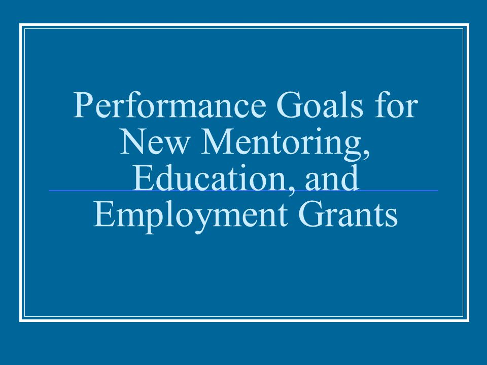 Performance Goals for New Mentoring, Education, and Employment Grants