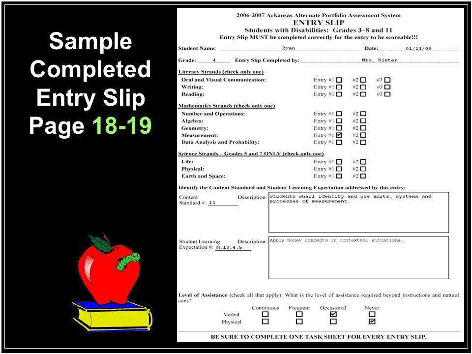 Sample Completed Task Sheet