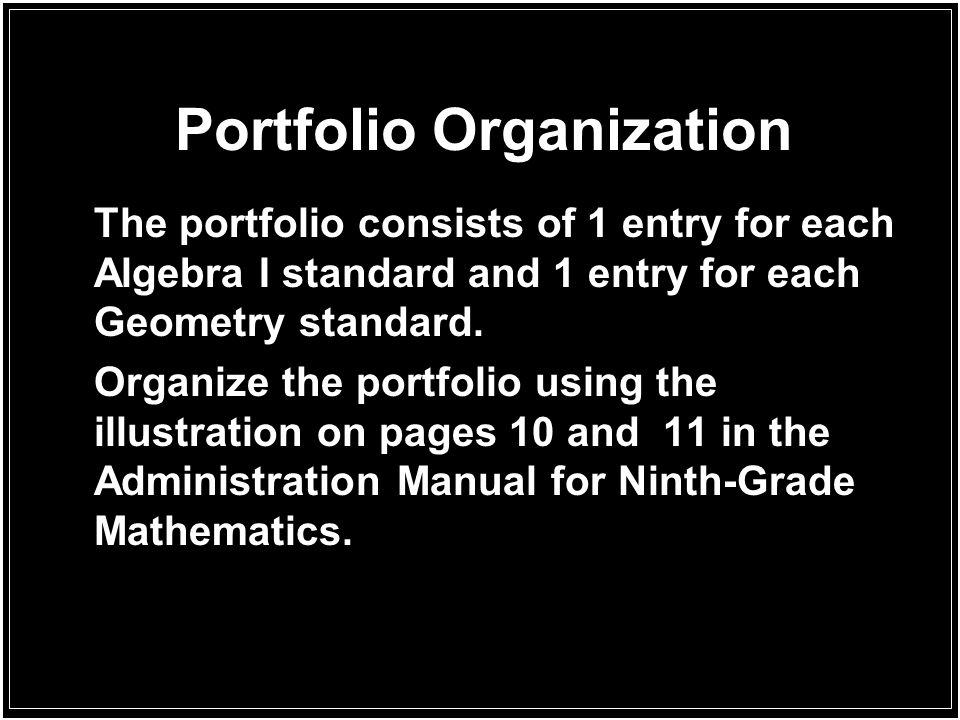 Organization of Portfolio Pages 10- 11