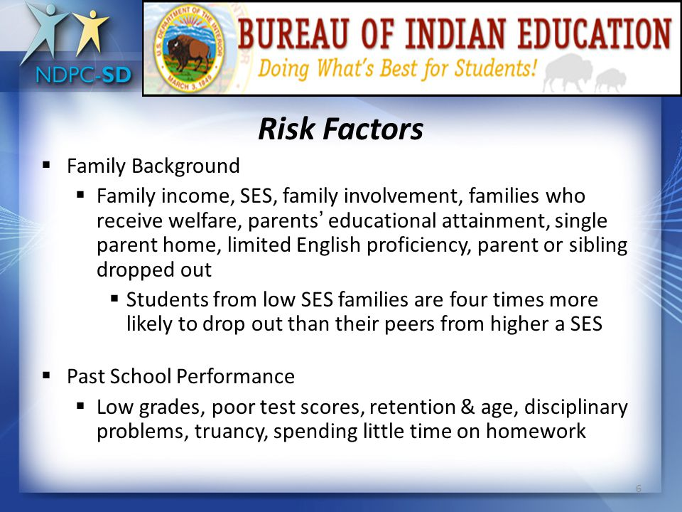 Risk Factors Demographic Characteristics  African American, American Indian/Native American, Hispanic/Latino American  Approximately half of African American students do not receive diplomas with their cohort.