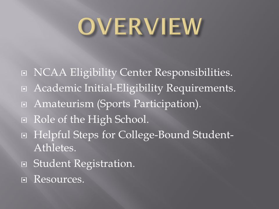 NCAA Eligibility Center Responsibilities.  Academic Initial-Eligibility Requirements.  Amateurism (Sports Participation).  Role of the High Schoo