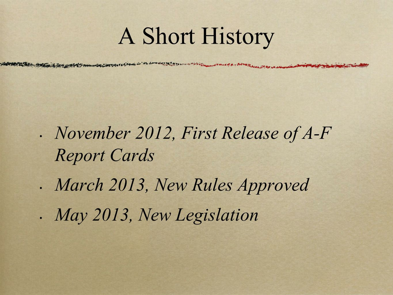 A Short History November 2012, First Release of A-F Report Cards March 2013, New Rules Approved May 2013, New Legislation