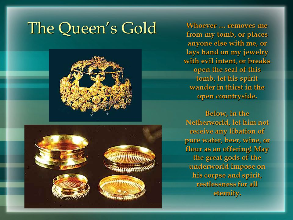 Gold of Nimrud The gold of Nimrud is a collection of more than 1,000 pieces of gold jewelry and precious stones from the eighth and ninth centuries B.C.