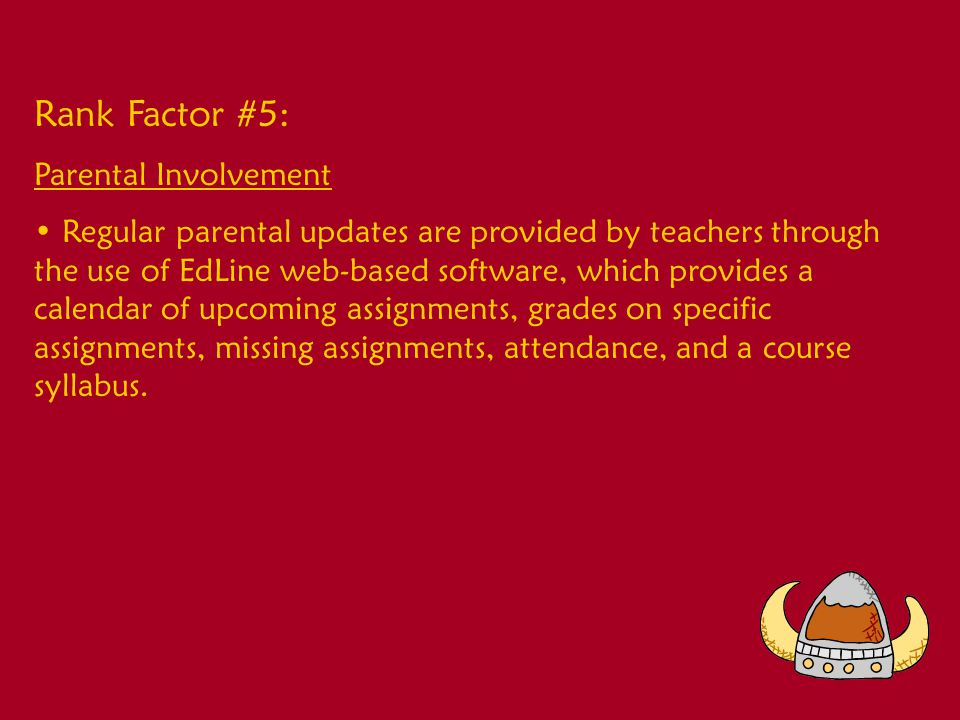Rank Factor #6: School Climate School-wide celebrations are held for academic and activity success.