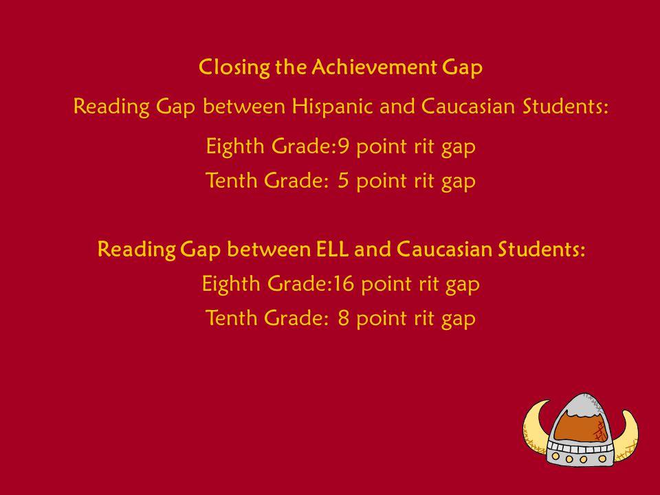 Closing the Achievement Gap Reading Gap between Hispanic and Caucasian Students: Eighth Grade:9 point rit gap Tenth Grade:5 point rit gap Reading Gap