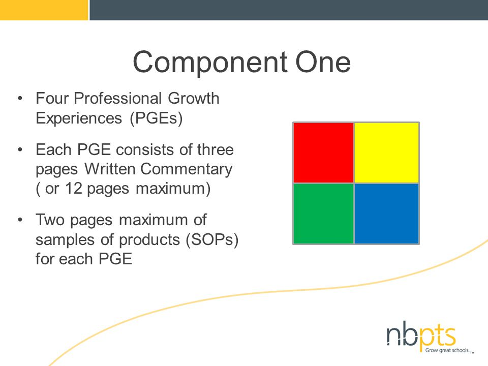 Four Professional Growth Experiences (PGEs) Each PGE consists of three pages Written Commentary ( or 12 pages maximum) Two pages maximum of samples of