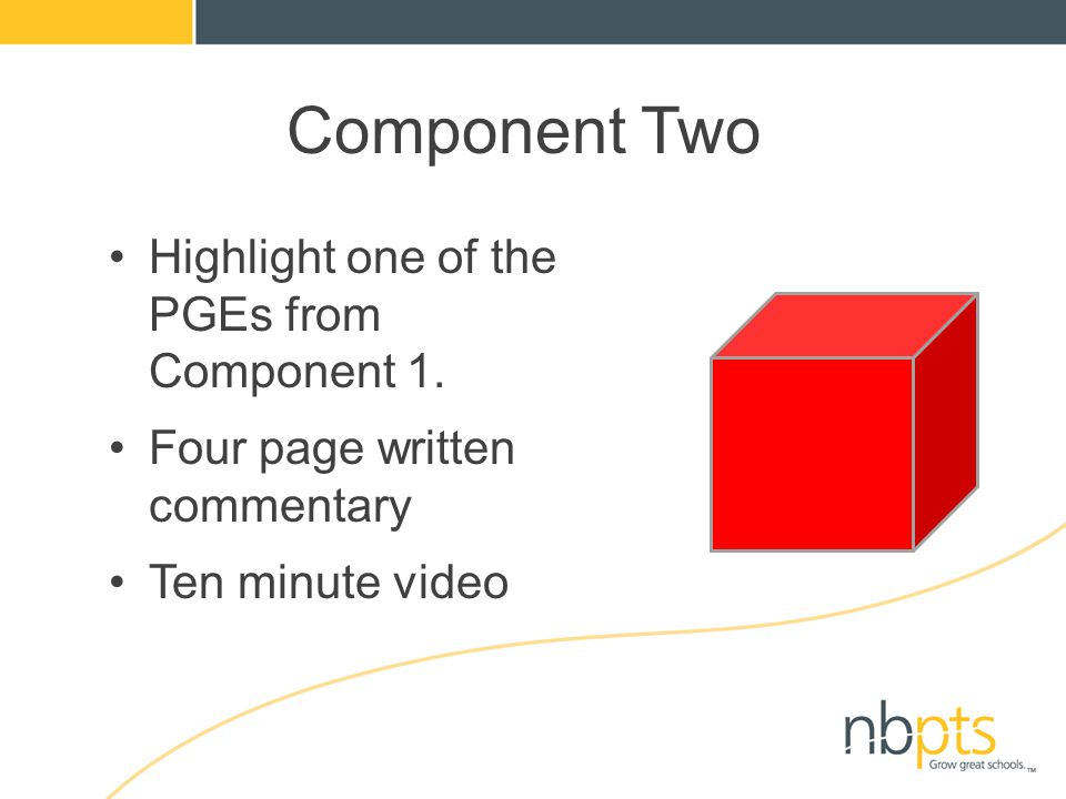 Component Two Highlight one of the PGEs from Component 1. Four page written commentary Ten minute video
