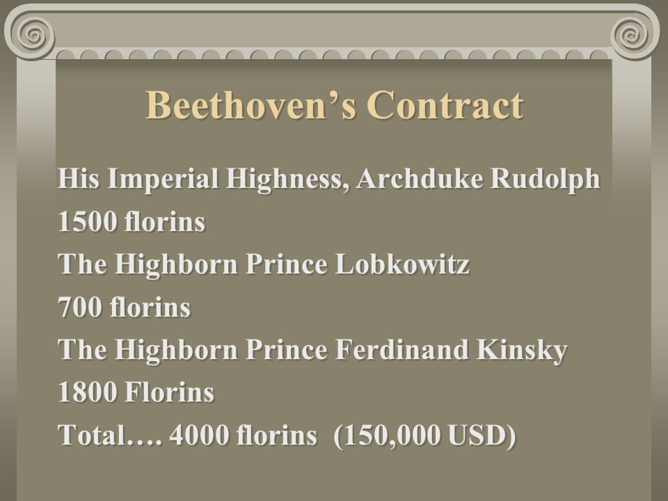 Beethoven's Contract His Imperial Highness, Archduke Rudolph 1500 florins The Highborn Prince Lobkowitz 700 florins The Highborn Prince Ferdinand Kinsky 1800 Florins Total….