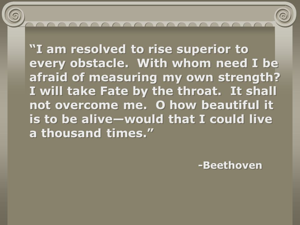 I am resolved to rise superior to every obstacle.