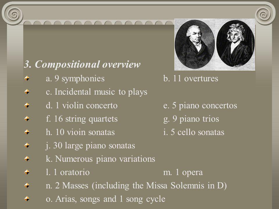 3.Compositional overview a. 9 symphonies b. 11 overtures c.