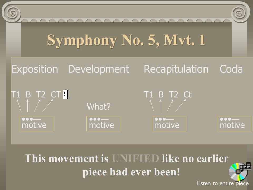 Symphony No.5, Mvt. 1 ExpositionDevelopmentRecapitulationCoda T1 B T2 CTT1 B T2 Ct What.