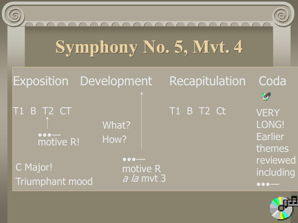 Symphony No.5, Mvt. 4 ExpositionDevelopmentRecapitulationCoda T1 B T2 CTT1 B T2 Ct What.