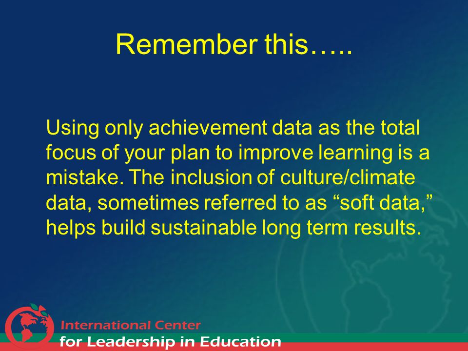 Remember this….. Using only achievement data as the total focus of your plan to improve learning is a mistake. The inclusion of culture/climate data,