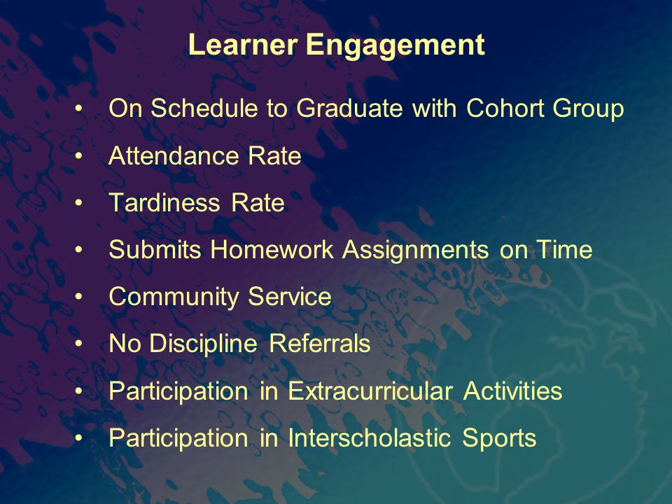 Learner Engagement On Schedule to Graduate with Cohort Group Attendance Rate Tardiness Rate Submits Homework Assignments on Time Community Service No Discipline Referrals Participation in Extracurricular Activities Participation in Interscholastic Sports