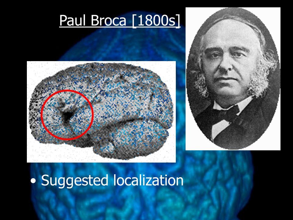Paul Broca [1800s] Suggested localization