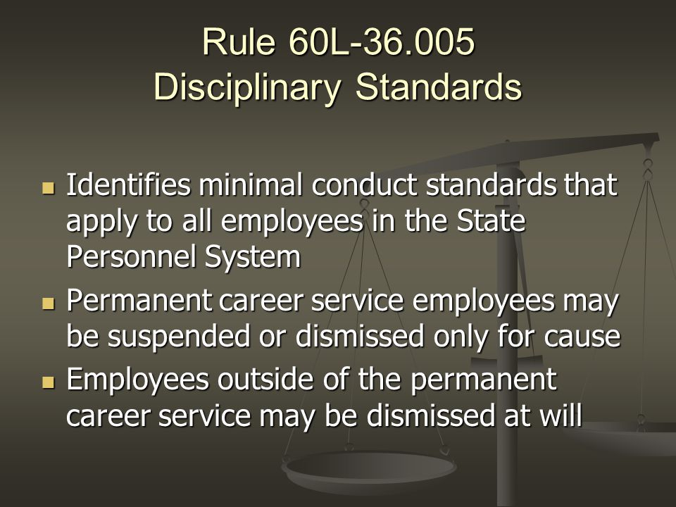 Rule 60L-36.005 Disciplinary Standards Identifies minimal conduct standards that apply to all employees in the State Personnel System Identifies minim