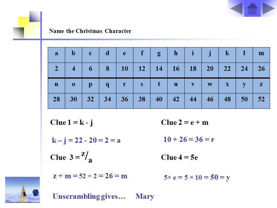 Name the Christmas Character abcdefghijklm 2468101214161820222426 nopqrstuvwxyz 28303234363840424446485052 Clue 1 = k - j Clue 2 = e + m Clue 3 = z /