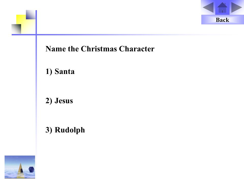 Name the Christmas Character 1)Santa 2)Jesus 3)Rudolph Back