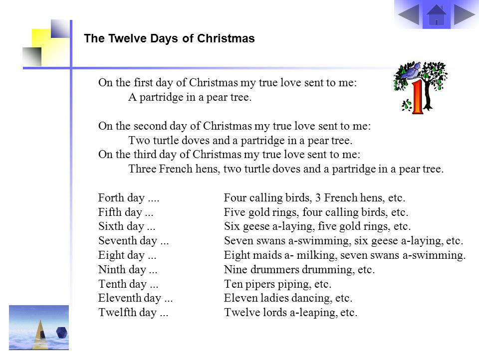 On the first day of Christmas my true love sent to me: A partridge in a pear tree.