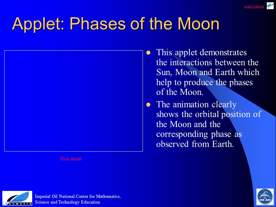 Load Website Imperial Oil National Center for Mathematics, Science and Technology Education Applet: Phases of the Moon This applet demonstrates the interactions between the Sun, Moon and Earth which help to produce the phases of the Moon.