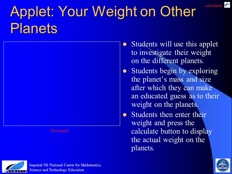 Load Website Imperial Oil National Center for Mathematics, Science and Technology Education Applet: Your Weight on Other Planets Students will use this applet to investigate their weight on the different planets.