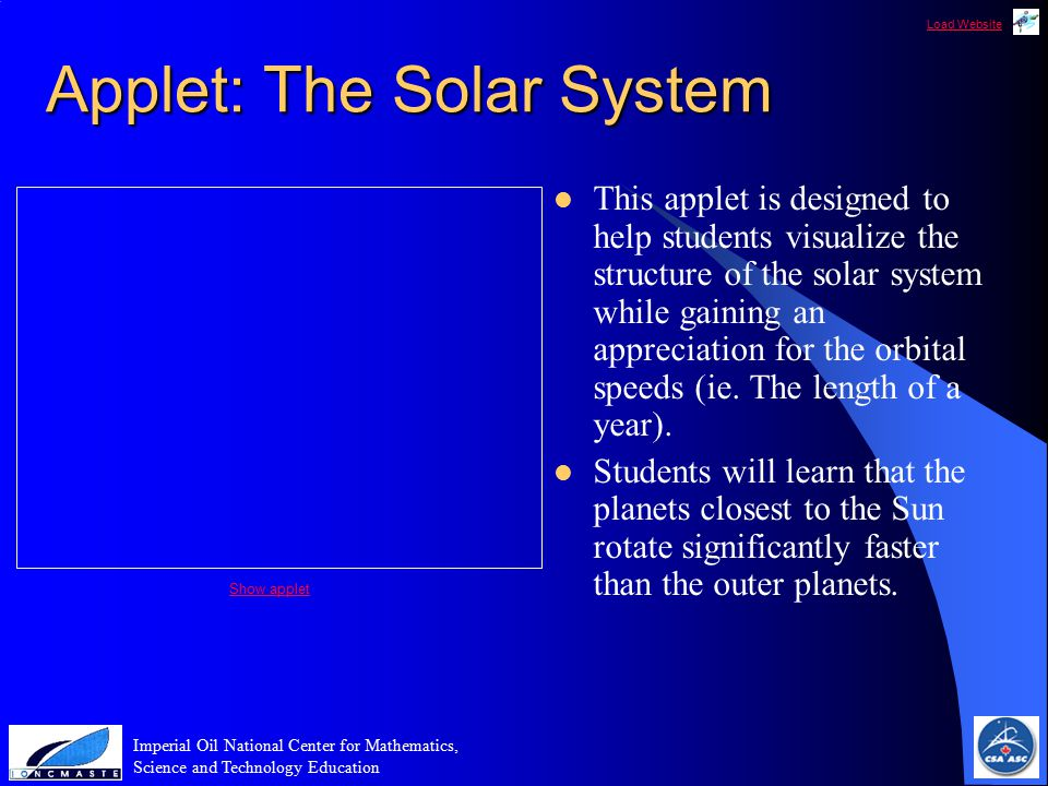 Load Website Imperial Oil National Center for Mathematics, Science and Technology Education Applet: The Solar System This applet is designed to help students visualize the structure of the solar system while gaining an appreciation for the orbital speeds (ie.