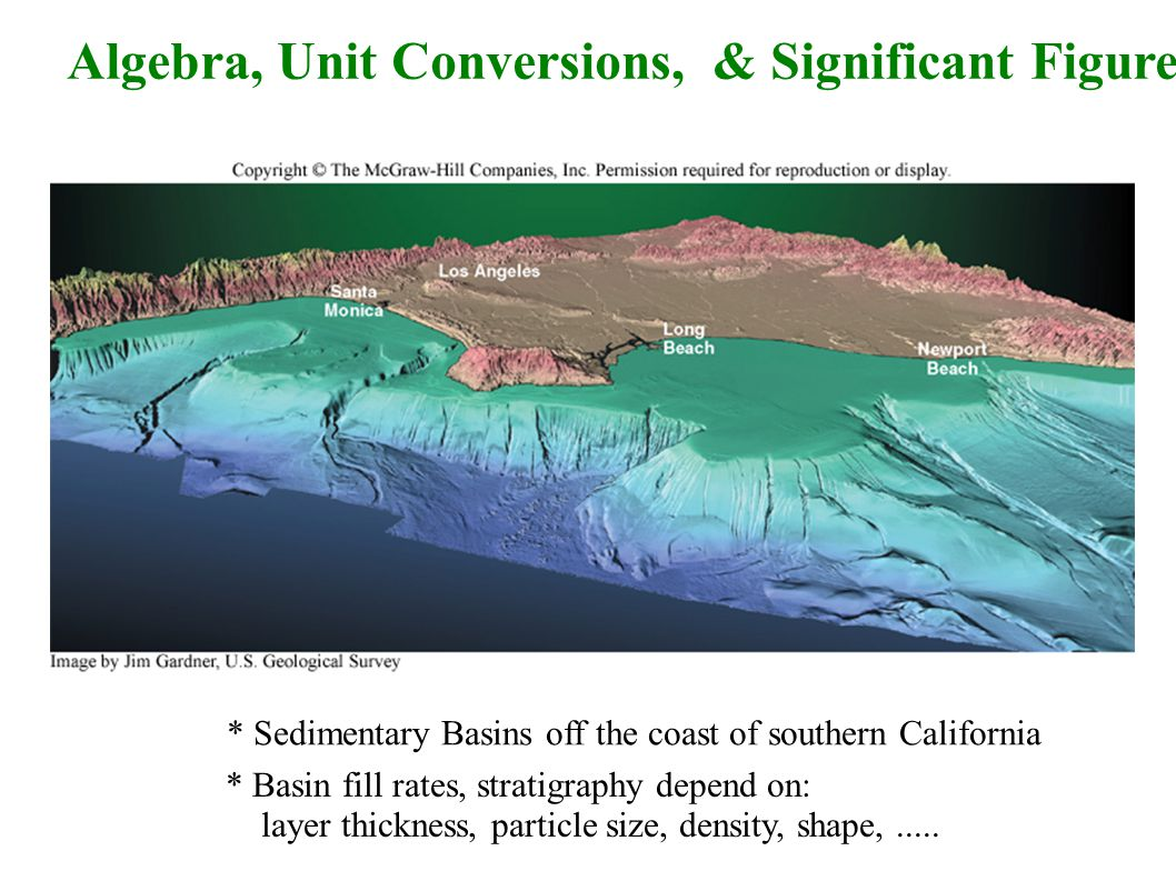Algebra, Unit Conversions, & Significant Figures * Sedimentary Basins off the coast of southern California * Basin fill rates, stratigraphy depend on: layer thickness, particle size, density, shape,.....