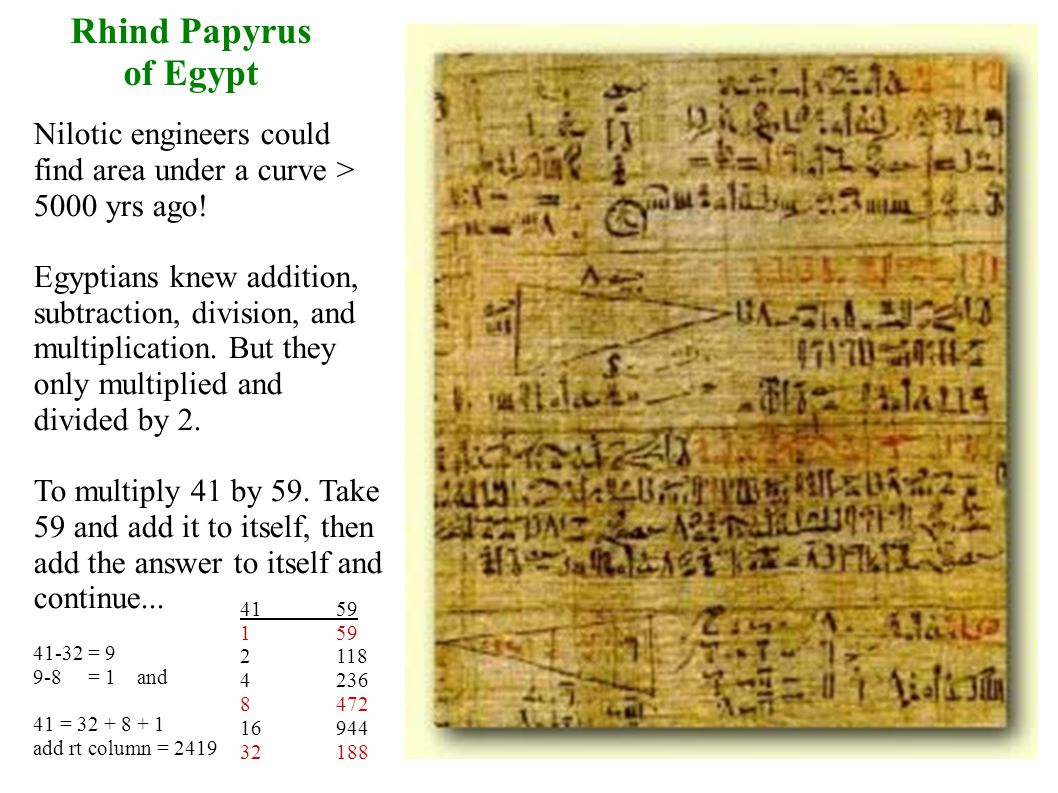 Rhind Papyrus of Egypt Nilotic engineers could find area under a curve > 5000 yrs ago.