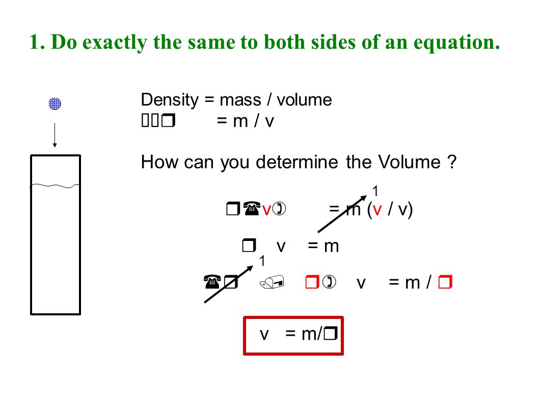 1. Do exactly the same to both sides of an equation.