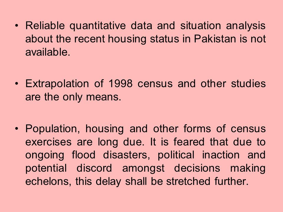 Reliable quantitative data and situation analysis about the recent housing status in Pakistan is not available.