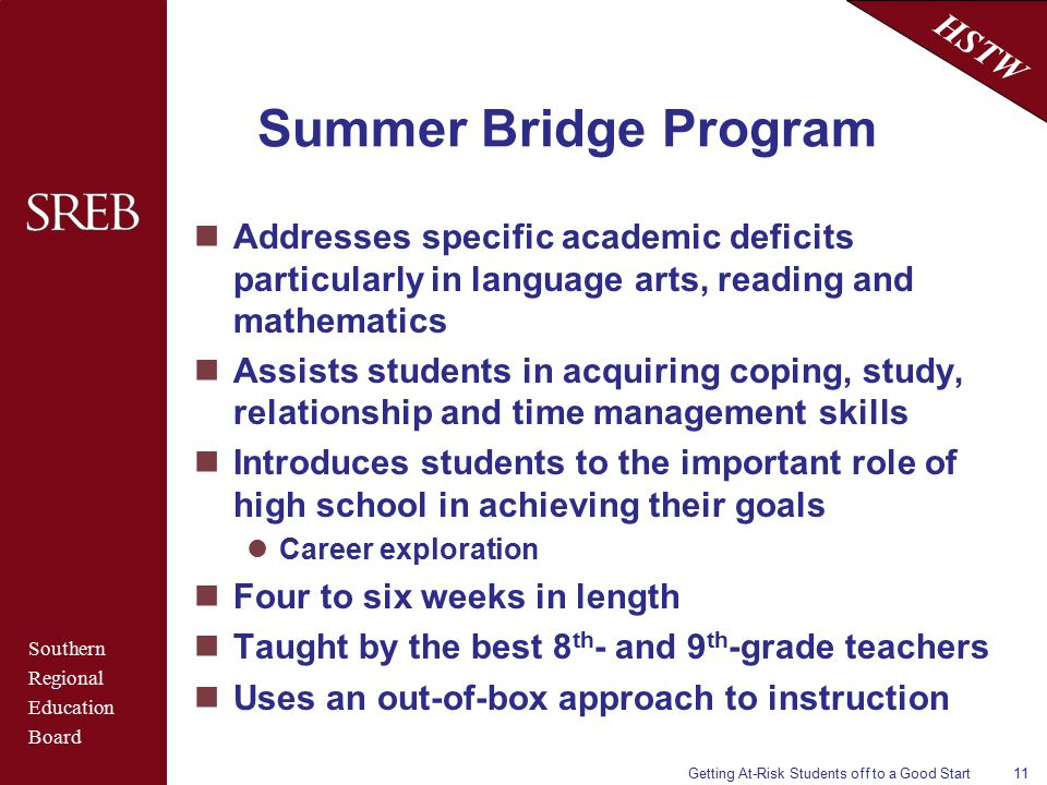 Southern Regional Education Board HSTW Getting At-Risk Students off to a Good Start11 Summer Bridge Program Addresses specific academic deficits particularly in language arts, reading and mathematics Assists students in acquiring coping, study, relationship and time management skills Introduces students to the important role of high school in achieving their goals Career exploration Four to six weeks in length Taught by the best 8 th - and 9 th -grade teachers Uses an out-of-box approach to instruction