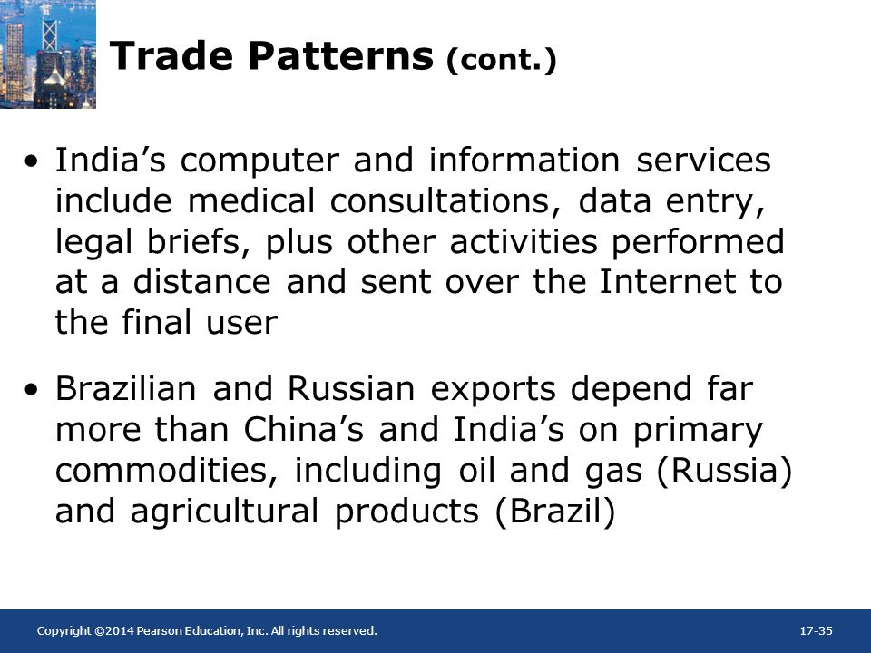 Copyright ©2014 Pearson Education, Inc. All rights reserved.17-35 Trade Patterns (cont.) India's computer and information services include medical con