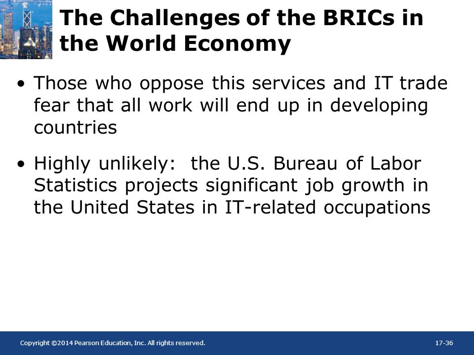 Copyright ©2014 Pearson Education, Inc. All rights reserved.17-36 The Challenges of the BRICs in the World Economy Those who oppose this services and