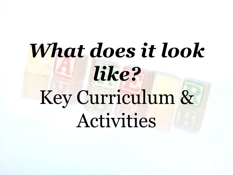What does it look like? Key Curriculum & Activities