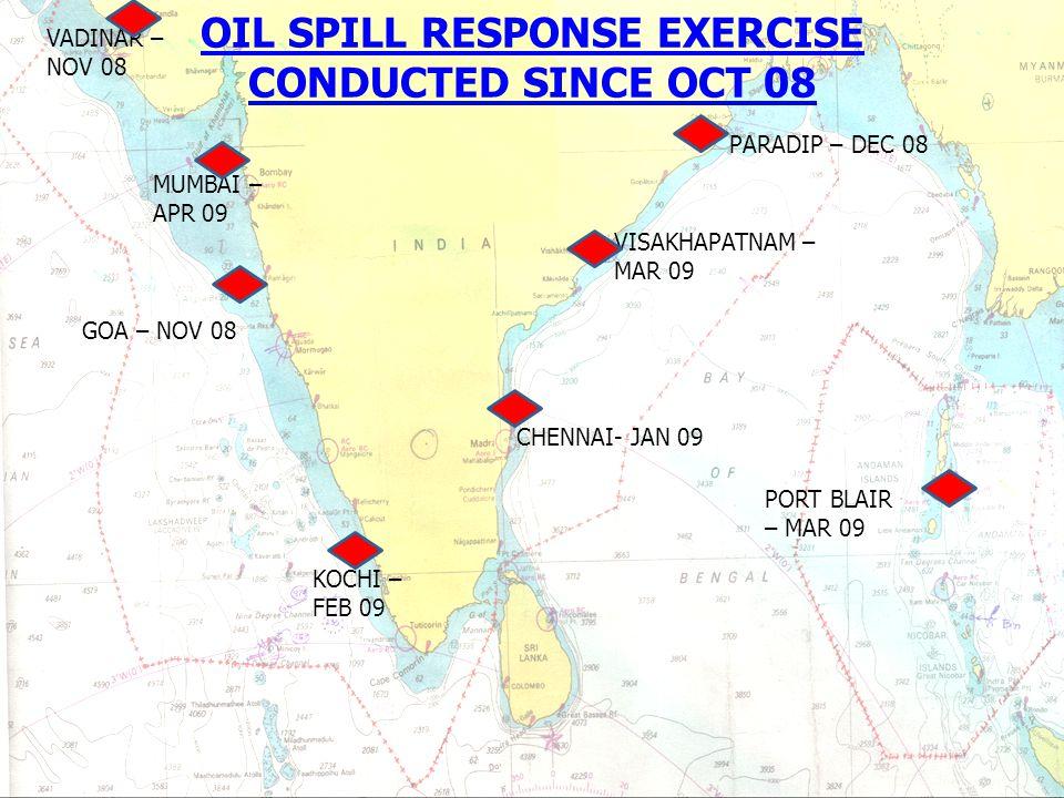 OIL SPILL RESPONSE EXERCISE CONDUCTED SINCE OCT 08 VISAKHAPATNAM – MAR 09 KOCHI – FEB 09 PARADIP – DEC 08 MUMBAI – APR 09 GOA – NOV 08 CHENNAI- JAN 09 PORT BLAIR – MAR 09 VADINAR – NOV 08