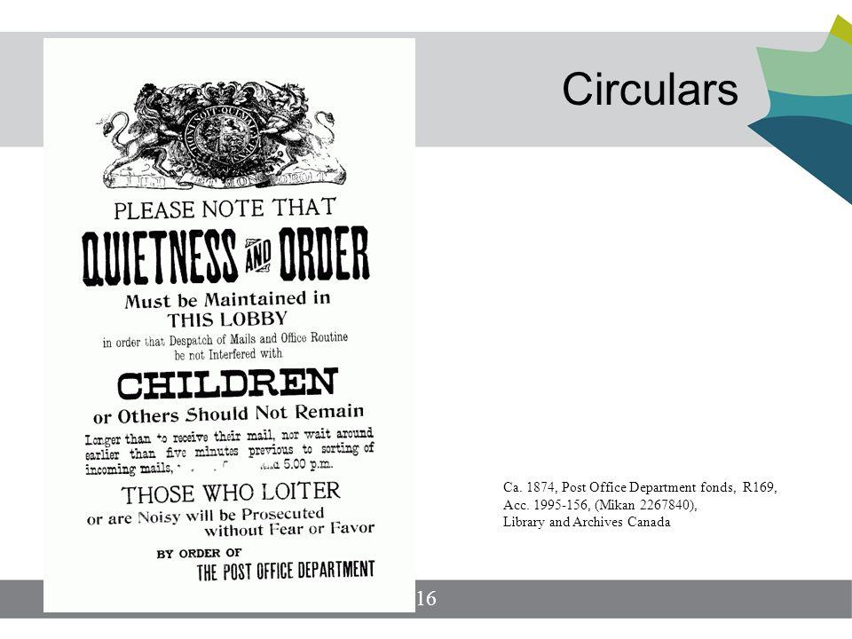 Circulars 16 Ca. 1874, Post Office Department fonds, R169, Acc.