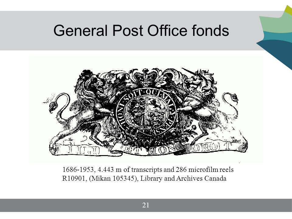 General Post Office fonds 1686-1953, 4.443 m of transcripts and 286 microfilm reels R10901, (Mikan 105345), Library and Archives Canada 21