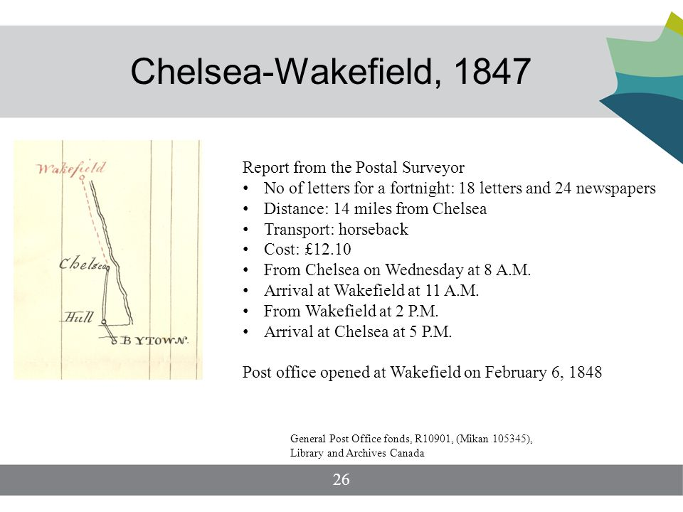 Chelsea-Wakefield, 1847 Report from the Postal Surveyor No of letters for a fortnight: 18 letters and 24 newspapers Distance: 14 miles from Chelsea Transport: horseback Cost: £12.10 From Chelsea on Wednesday at 8 A.M.