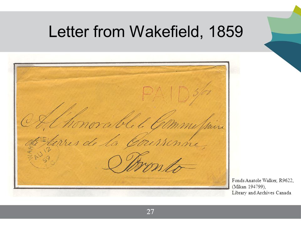 Letter from Wakefield, 1859 27 Fonds Anatole Walker, R9622, (Mikan 194799), Library and Archives Canada