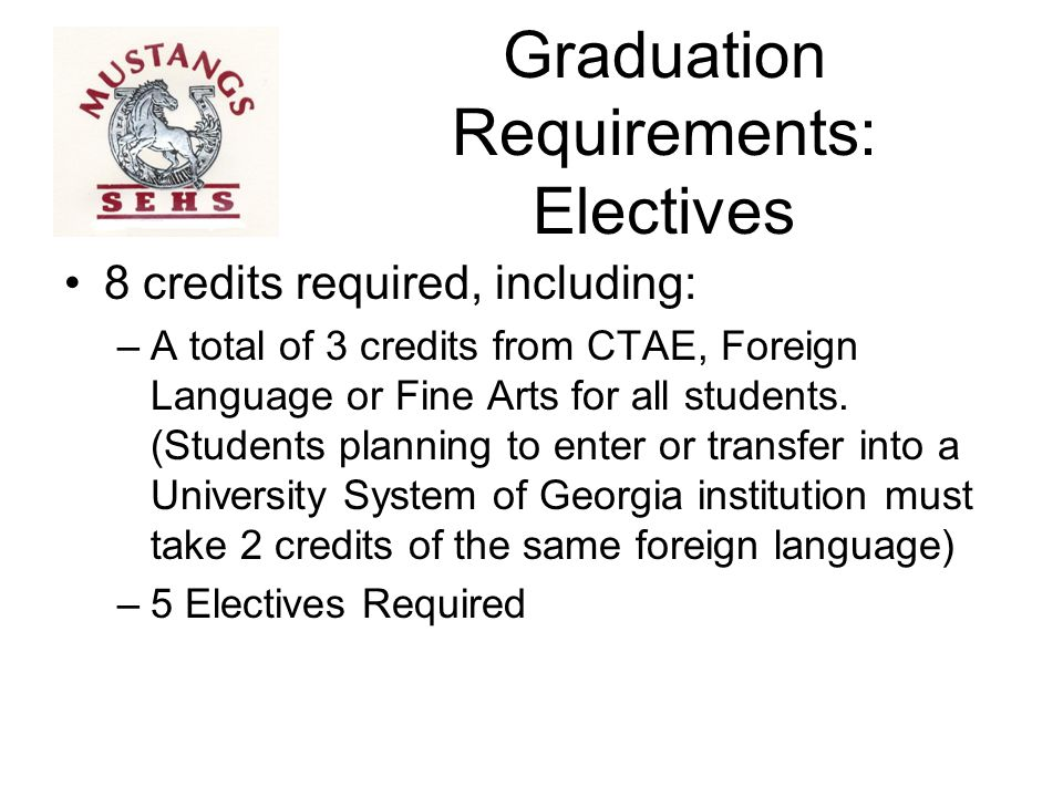 Graduation Requirements: Credits for the Class of 2019 24 Total Credits to Graduate 7 courses x 4 years = 28 Credit Opportunities